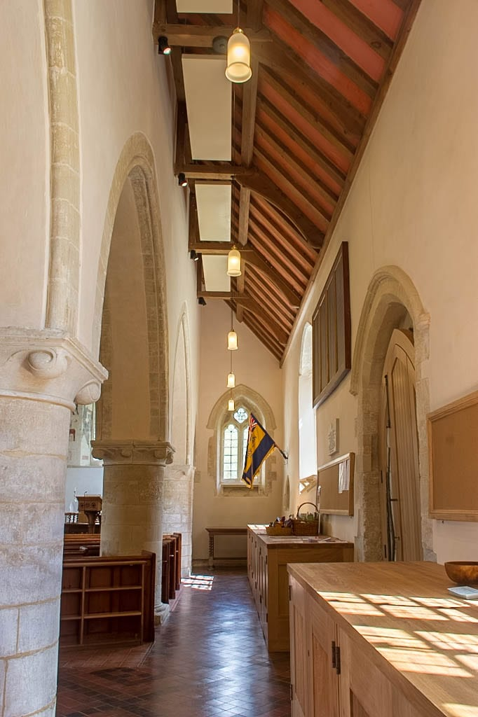 Solray Radiant Panels in the Aisle of St Mary's Church in Chalgrove
