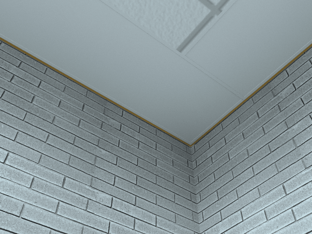 A rendered image of a Solray DM Perimeter panel in a ceiling