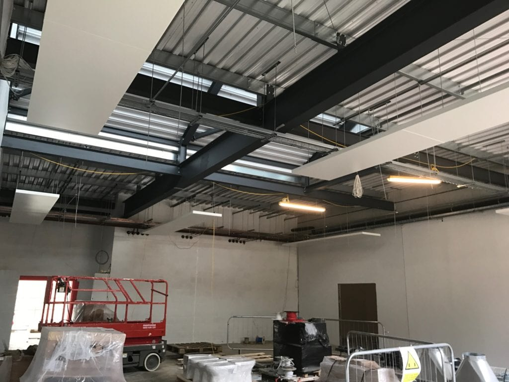 Solray Free Hanging Panels being installed at The Future Skills Centre in Bordon