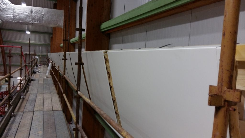 Solray Angled Wall Panels being installed at Dick McTaggart Gymnastics Centre